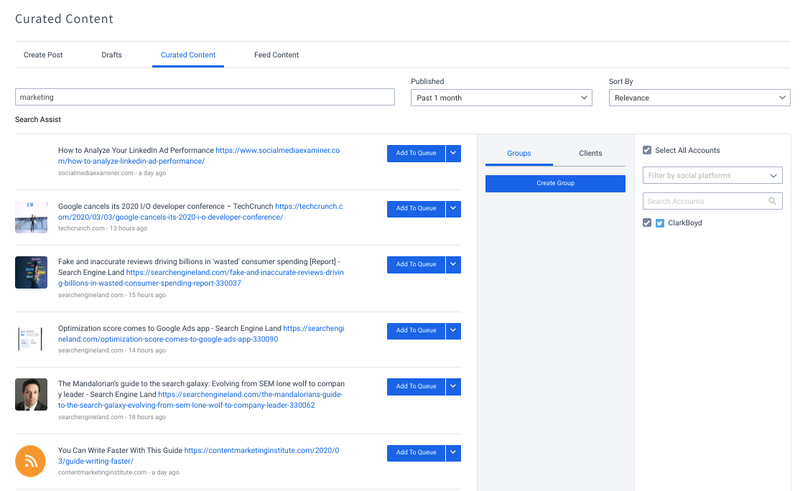 Curating content on SocialPilot's back-end for social media.