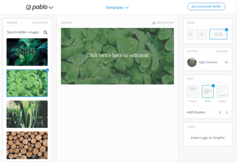 Pablo interface on Buffer, featuring multiple images of plants on the left and options to modify the images on the right.