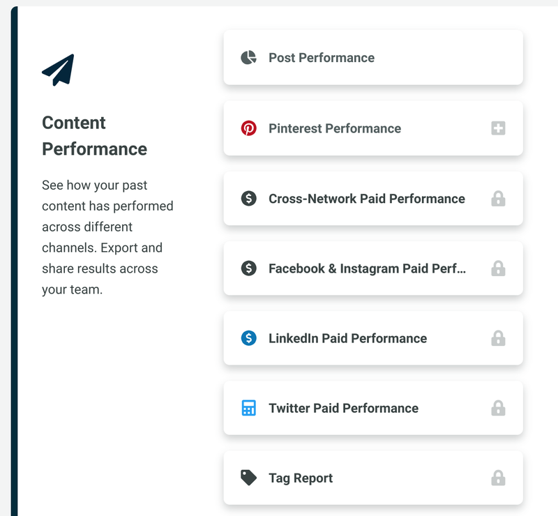 Sprout Social's content performance screen with options to select analytics for Facebook, Twitter and LinkedIn