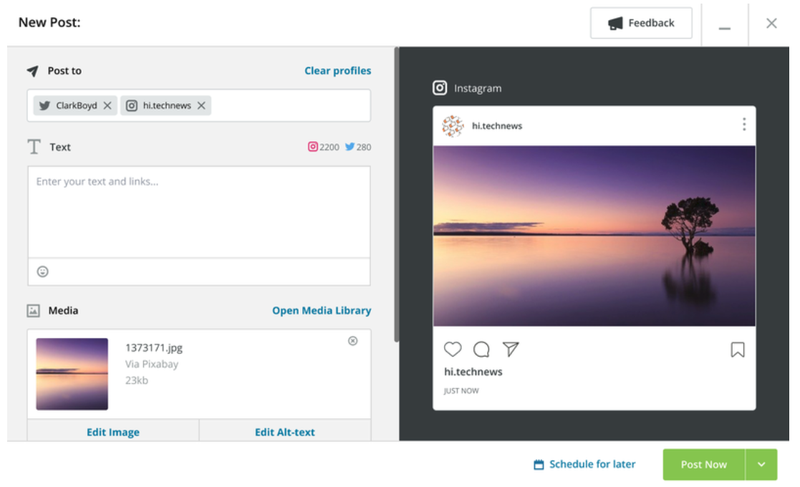 Hootsuite's post preview tool for multiple social media platforms.