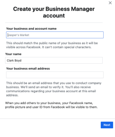 The Create Your Business Manager account screen, which asks for the user's account details