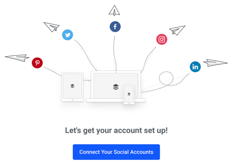 The Buffer start screen, with icons from a number of popular social networks.