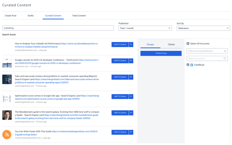 The content curation tool on SocialPilot.