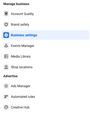 List of six options under Manage Business, with Business Settings highlighted