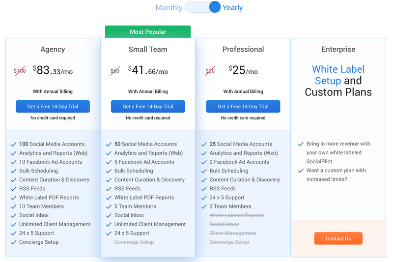 SocialPilot pricing plans to manage social media.