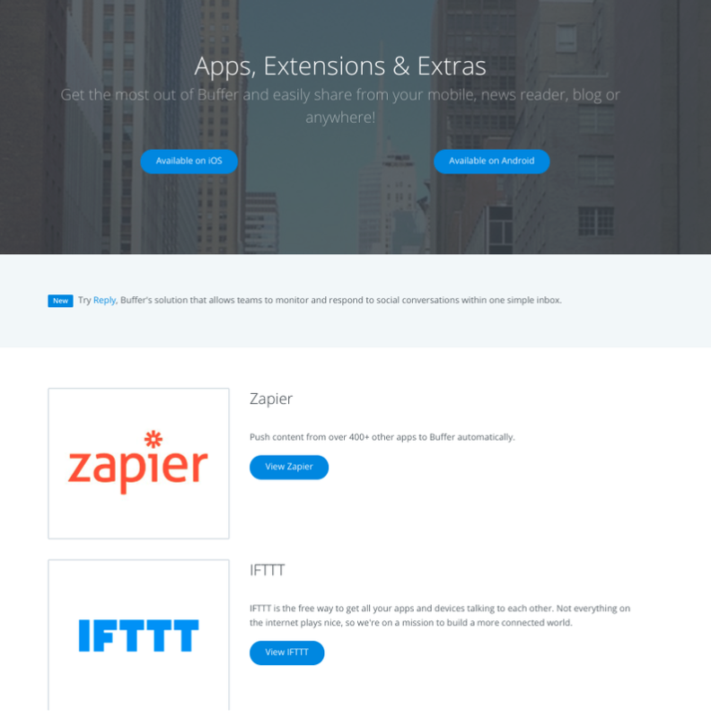 Buffer's apps and extensions to expands its social media management capabilities.