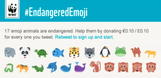A World Wildlife Fund social media campaign with emojis created for awareness.