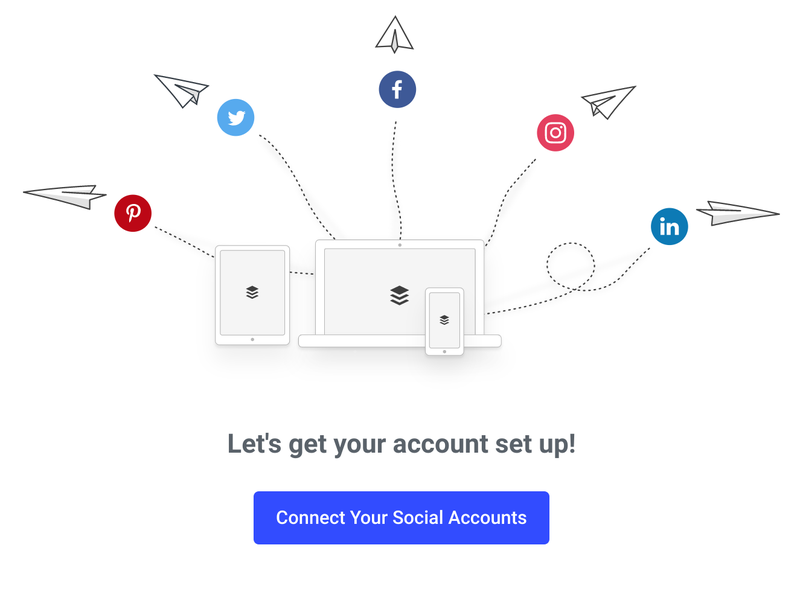 Buffer illustration of a laptop connecting to social media platforms with a button prompting the user to set up their account.