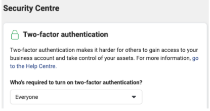 Screenshot of the Two-factor authentication process