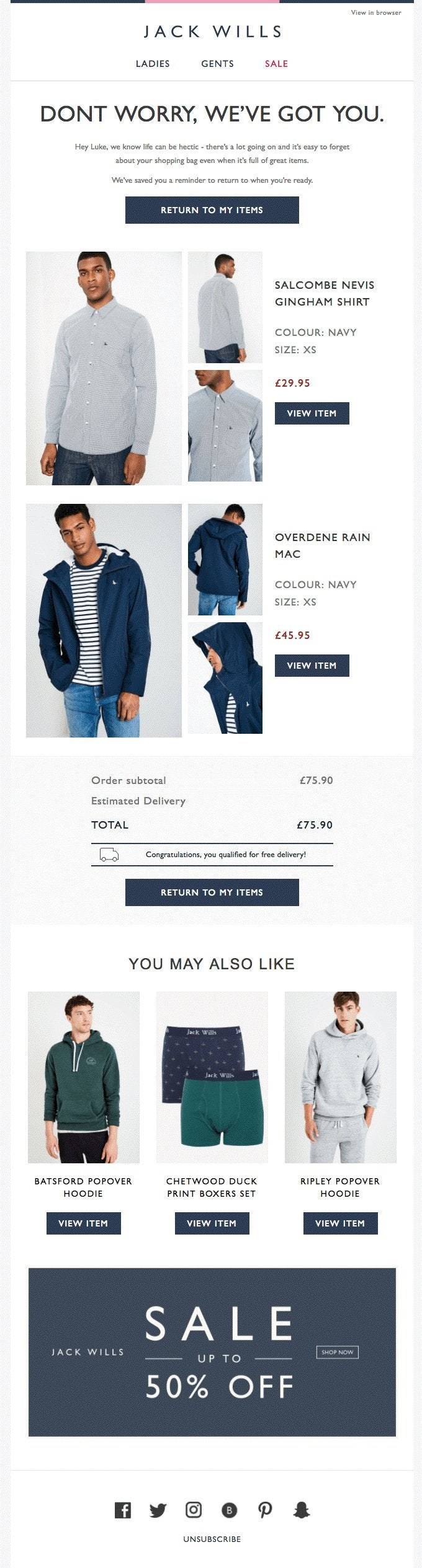 Jack Wills' cart abandonment email