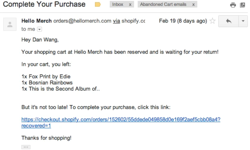 Hello Merch cart abandonment email