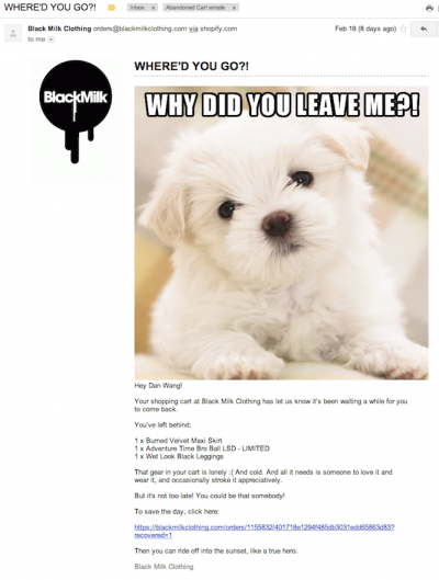 BlackMilk's cart abandonment email