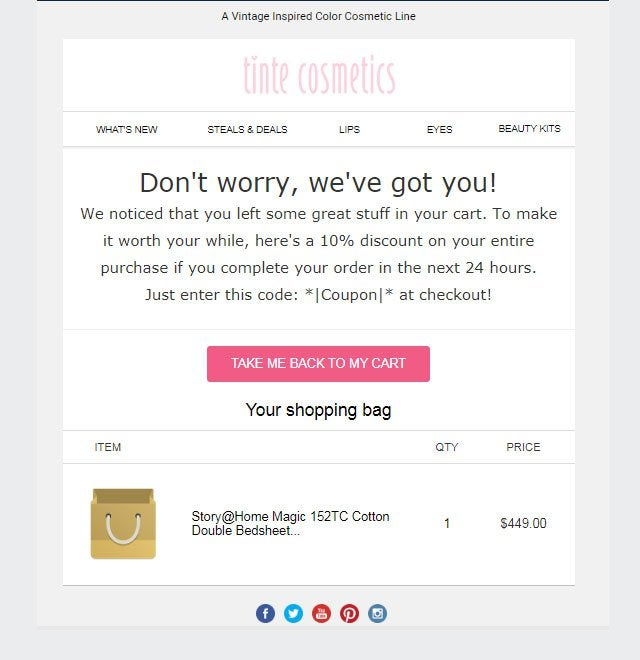 Tinte Cosmetics' cart abandonment email
