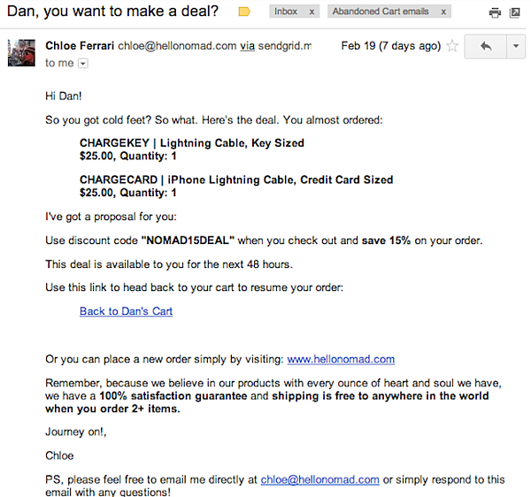 Hello Nomad's cart abandonment email