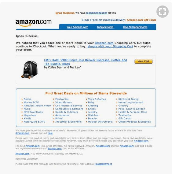 Amazon's cart abandonment email
