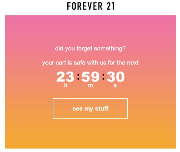 Forever 21's cart abandonment email