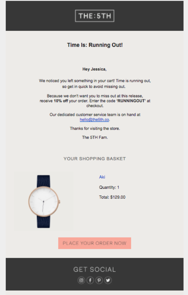 The 5th's cart abandonment email