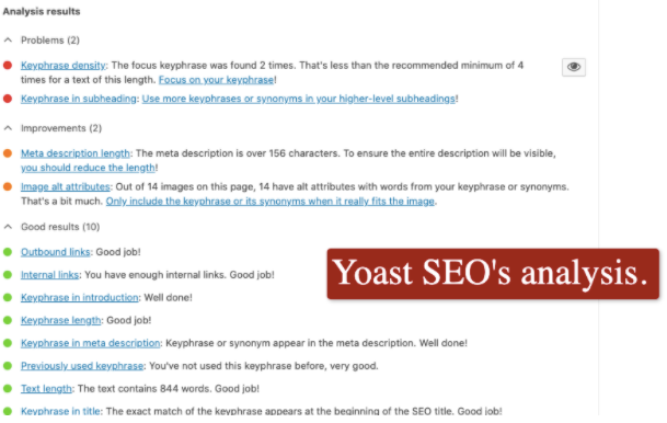 Yoast SEO's analysis