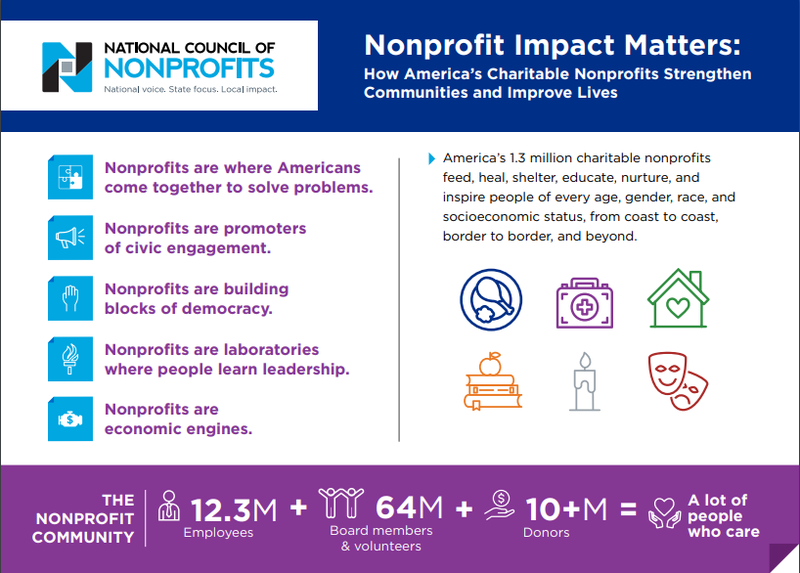 Screenshot of an infographic of nonprofit data from the National Council of Nonprofits.