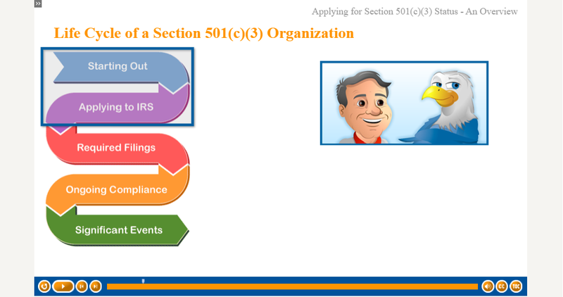 Screenshot of the IRS course on applying for tax-exempt status.