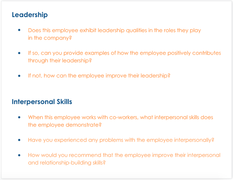 Samples of common questions about leadership and interpersonal skills that are included in 360-degree feedback surveys.