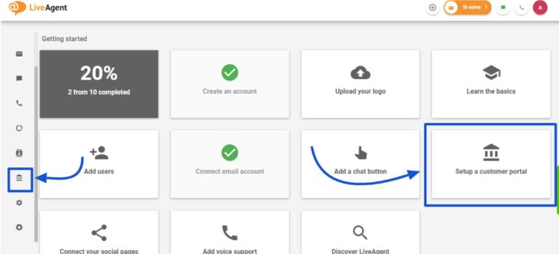 A screenshot showing the customer portal setup options in LiveAgent.