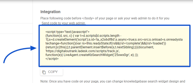 A LiveAgent screenshot shows the code to integrate the knowledge base search widget on your website.