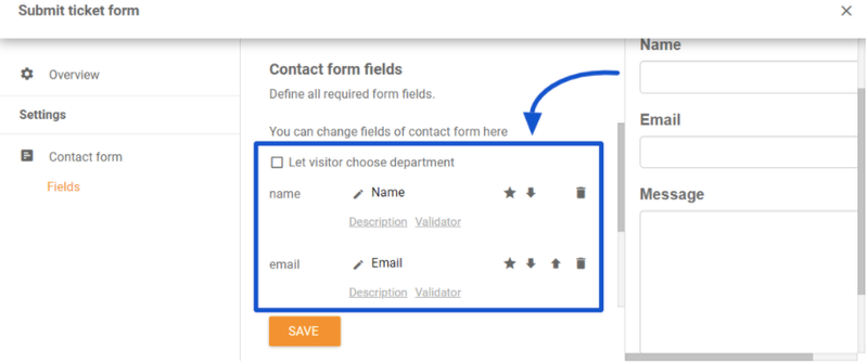 The image shows the submit contact form field editing options in LiveAgent.
