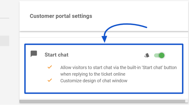 The screenshot shows the option to turn on chat for your customer portal.