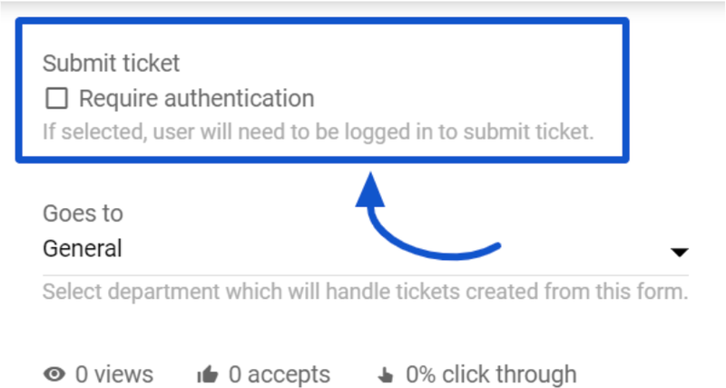 """The image highlights LiveAgent's """"Require authentication"""" option."""