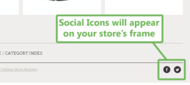 A green box encloses Facebook and Twitter icons at the bottom of a webpage with text explaining their presence.