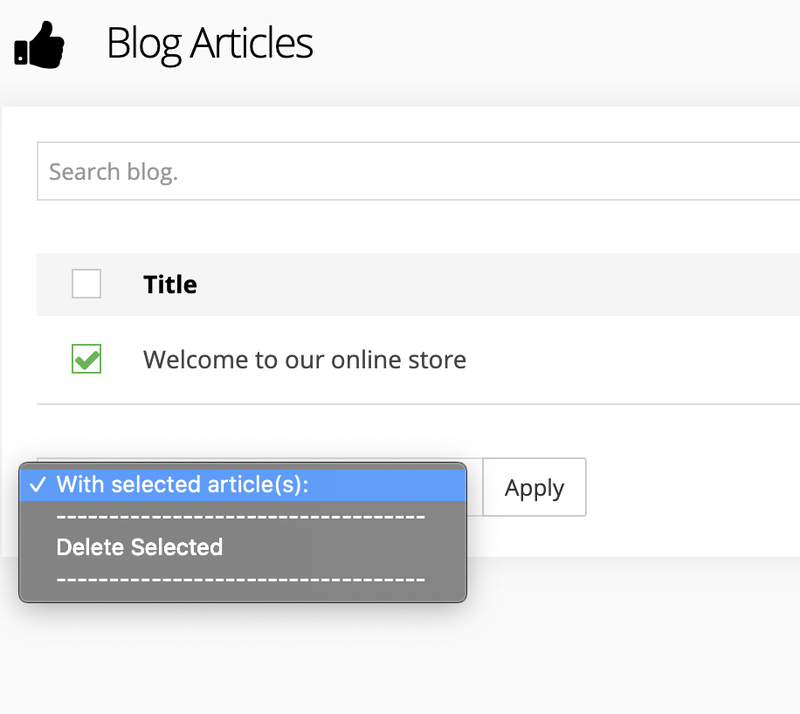 The blog section of 3dcart with a checkbox by a blog title and the ability to delete it as a selected action.