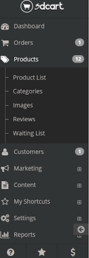 The 3dcart side toolbar with options to access the dashboard, products, marketing, etc.