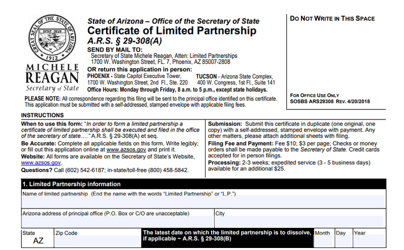 Screenshot of Arizona's certificate of limited partnership.