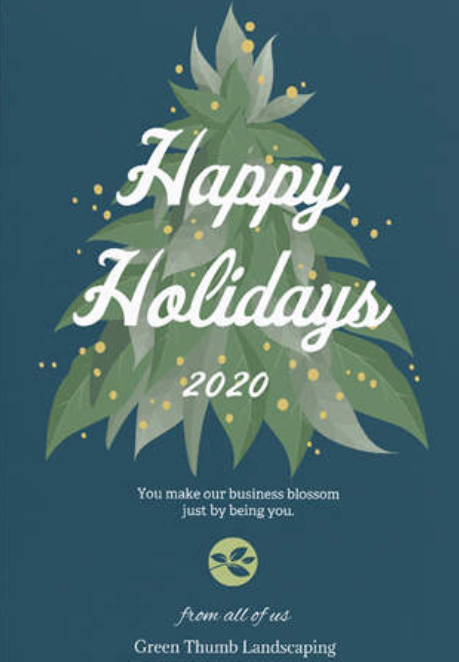 The image shows a holiday card from Green Thumb Landscaping.