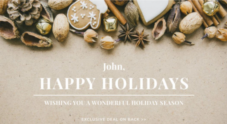 The image shows a personalized holiday card.