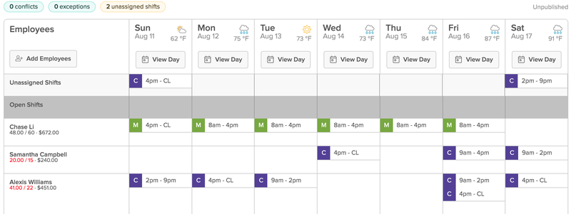 7shifts weekly schedule in calendar format for all employees