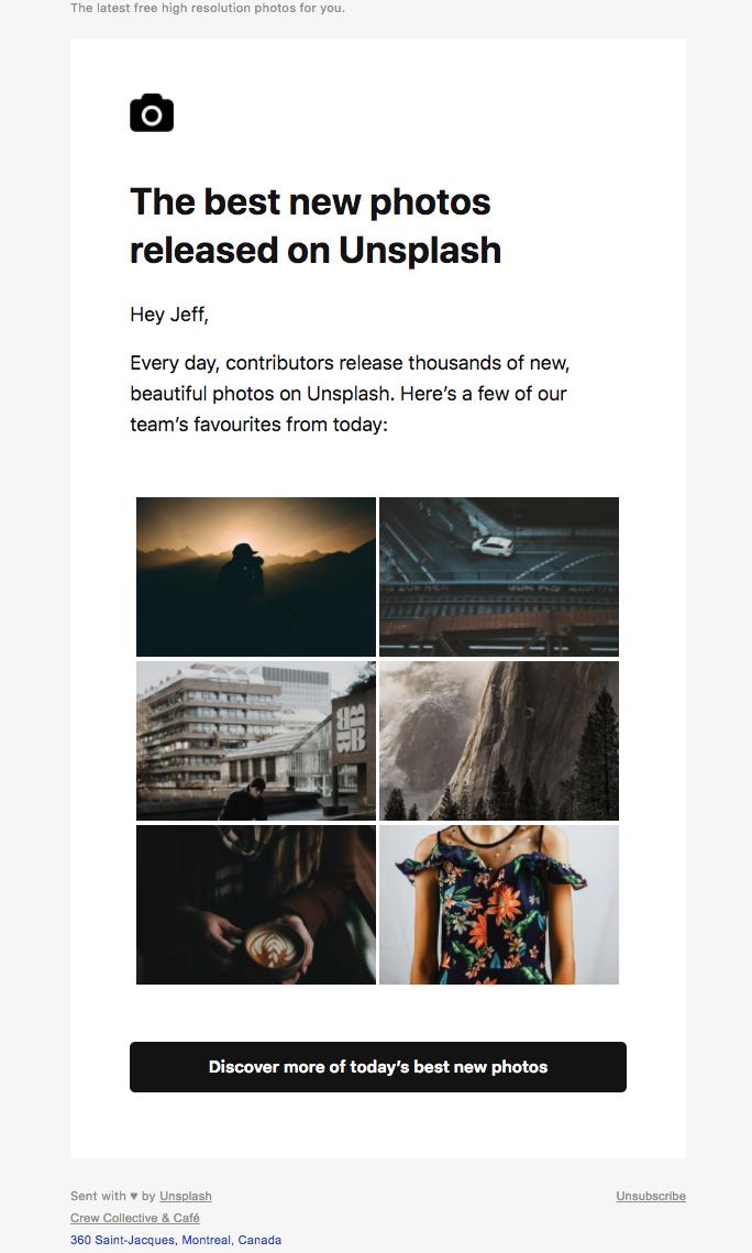 Unsplash's newletter