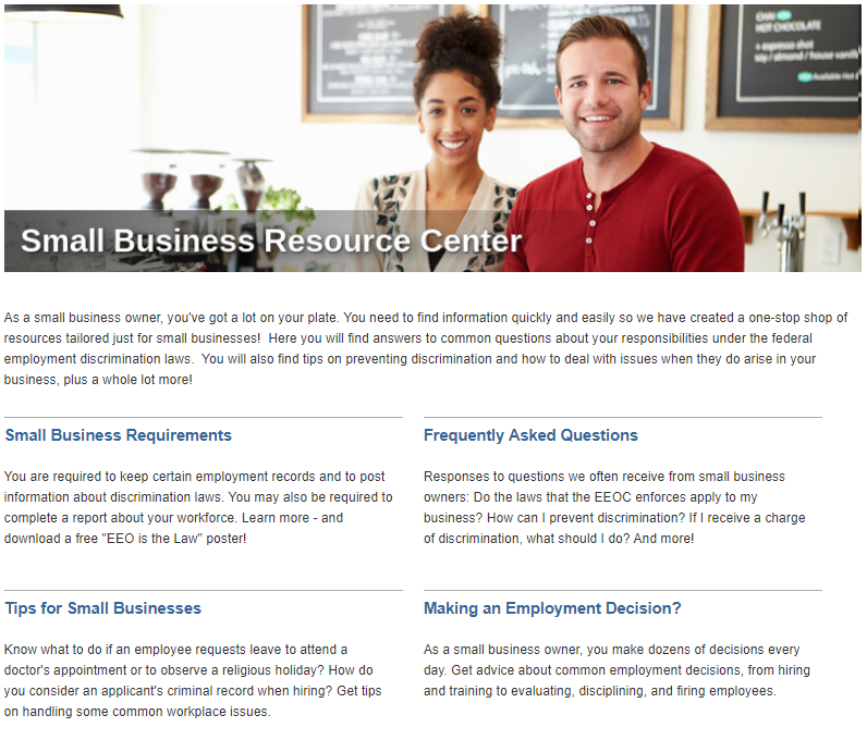 Screenshot of the EEOC's online Small Business Resource Center.