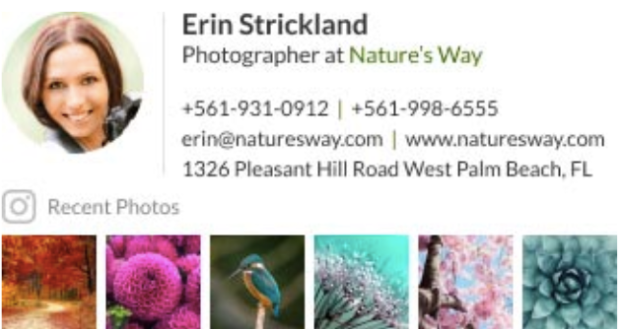 Email signature for a professional photographer