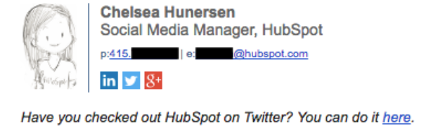 Email signature for a social media manager at HubSpot