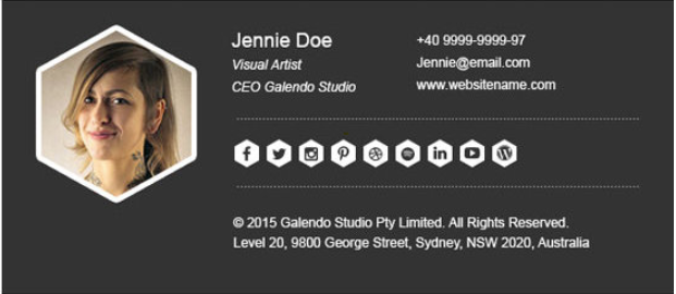 Email signature for a visual artist