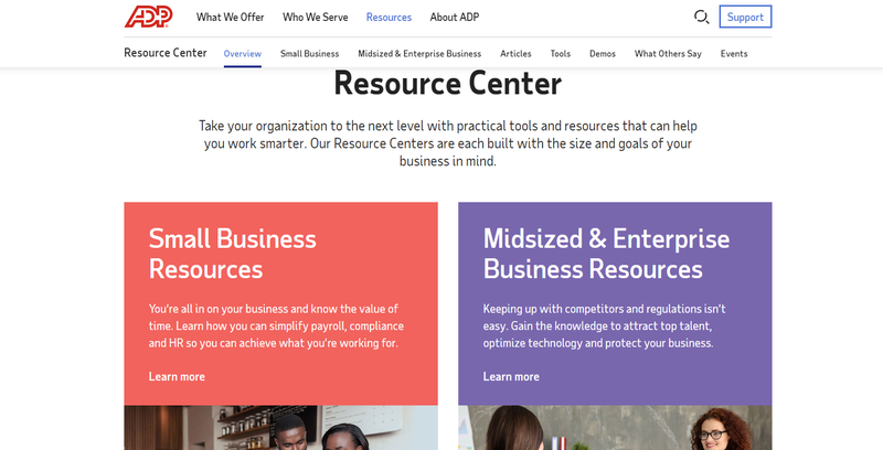Screenshot of ADP Workforce Now's support and resources area for troubleshooting and learning about the software.
