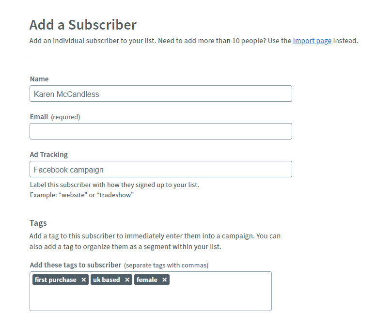 AWeber option to add a subscriber's name, email, ad tracking, and tags