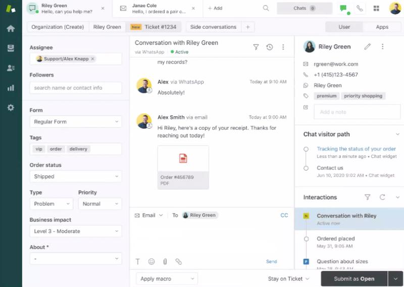 The screenshot shows an agent dashboard on Zendesk.