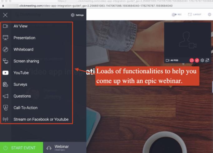 ClickMeeting's sidebar menu with modules like AV view, whiteboard, presentation, screen sharing and more
