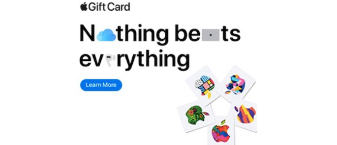 A paid ad for gift cards from Apple.