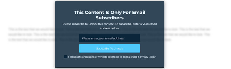 A sample locked content sign-up box.