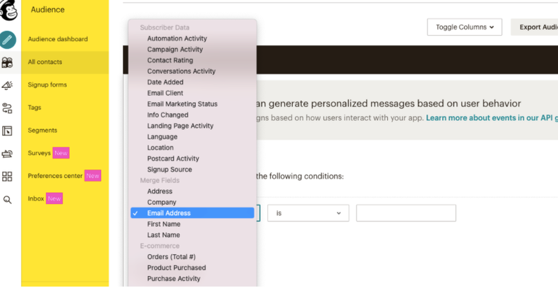 The contact list segmentation options and settings in Mailchimp.