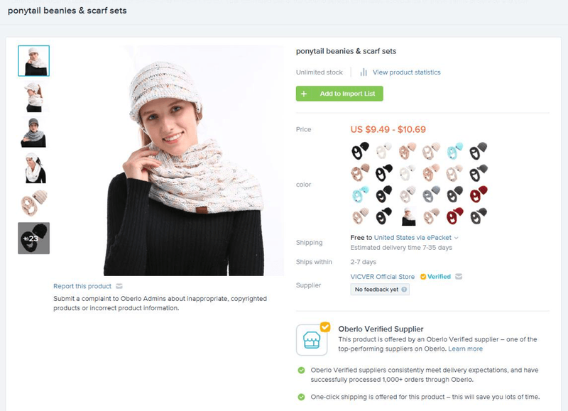An image of a ponytail beanie and scarf set on Oberlo, including product information such as price, shipping period, supplier, and more.
